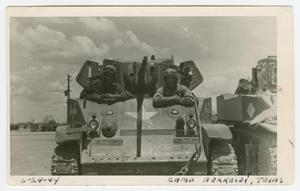 Primary view of object titled '[William Giannopoulos and Richard Mauger in a M5 Light Tank]'.