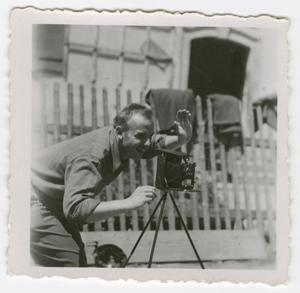 Primary view of object titled '[Carl Zutz with a Camera]'.