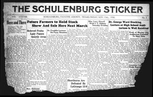 Primary view of object titled 'The Schulenburg Sticker (Schulenburg, Tex.), Vol. 43, No. 2, Ed. 1 Friday, November 13, 1936'.
