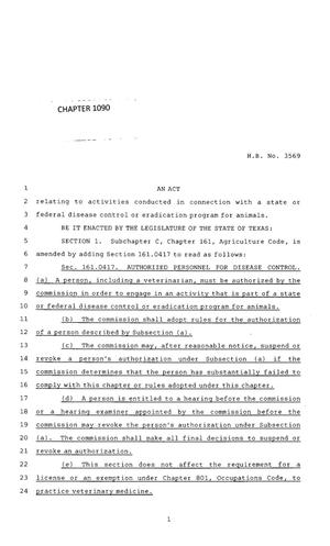 Primary view of object titled '83rd Texas Legislature, Regular Session, House Bill 3569, Chapter 1090'.