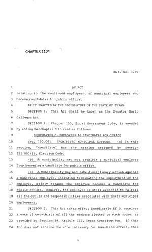 Primary view of object titled '83rd Texas Legislature, Regular Session, House Bill 3739, Chapter 1104'.