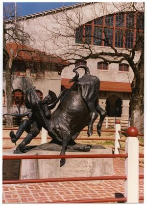 Primary view of object titled 'Sculpture of Bill Pickett in the Fort Worth Stockyards'.