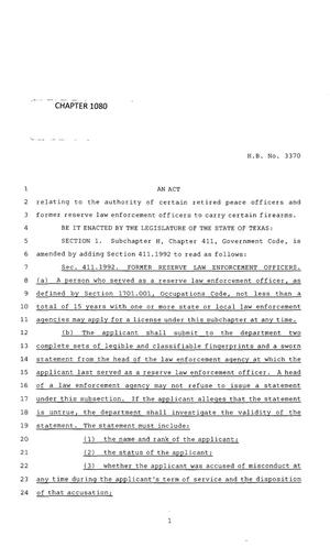 Primary view of object titled '83rd Texas Legislature, Regular Session, House Bill 3370, Chapter 1080'.