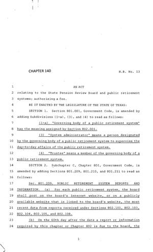 Primary view of object titled '83rd Texas Legislature, Regular Session, House Bill 13, Chapter 140'.