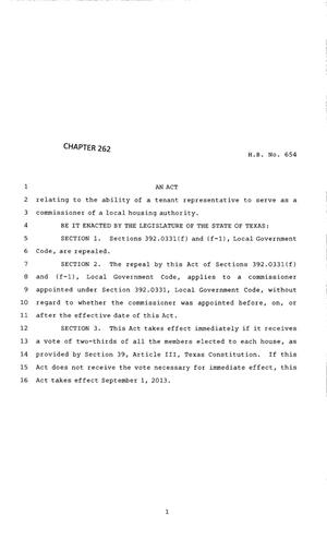 Primary view of object titled '83rd Texas Legislature, Regular Session, House Bill 654, Chapter 262'.