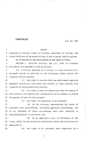 Primary view of object titled '83rd Texas Legislature, Regular Session, House Bill 899, Chapter 651'.