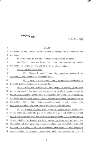 Primary view of object titled '83rd Texas Legislature, Regular Session, Senate Bill 1508, Chapter 1215'.