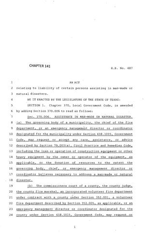 Primary view of object titled '83rd Texas Legislature, Regular Session, House Bill 487, Chapter 141'.