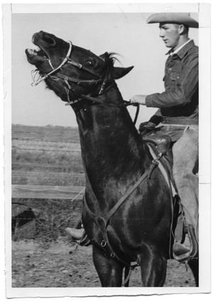 Primary view of object titled '[Unknown man and horse]'.