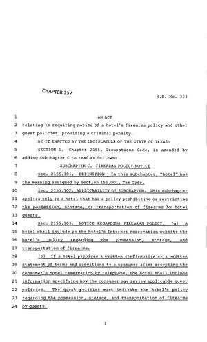 Primary view of object titled '83rd Texas Legislature, Regular Session, House Bill 333, Chapter 237'.