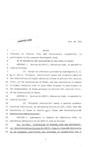 Primary view of object titled '83rd Texas Legislature, Regular Session, House Bill 870, Chapter 1268'.