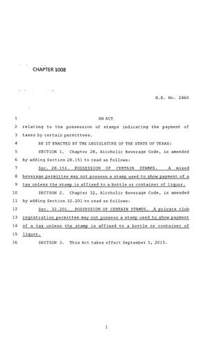 Primary view of object titled '83rd Texas Legislature, Regular Session, House Bill 2460, Chapter 1008'.