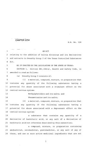 Primary view of object titled '83rd Texas Legislature, Regular Session, House Bill 124, Chapter 1254'.
