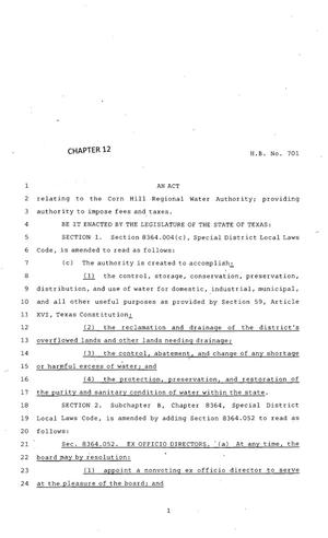 Primary view of object titled '83rd Texas Legislature, Regular Session, House Bill 701, Chapter 12'.