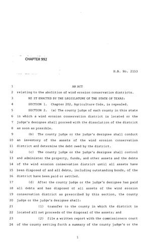 Primary view of object titled '83rd Texas Legislature, Regular Session, House Bill 2153, Chapter 992'.