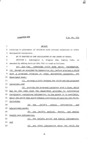 Primary view of object titled '83rd Texas Legislature, Regular Session, Senate Bill 502, Chapter 426'.