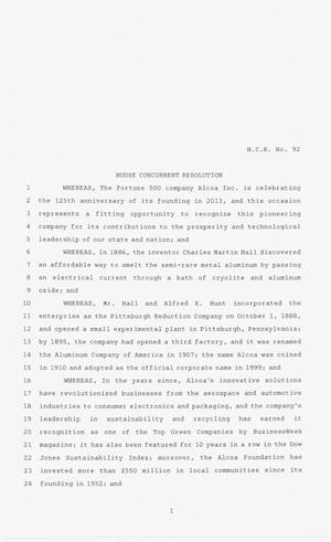 Primary view of object titled '83rd Texas Legislature, Regular Session, House Concurrent Resolution 92'.
