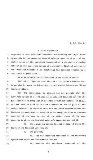 Primary view of object titled '83rd Texas Legislature, Regular Session, House Joint Resolution 24'.