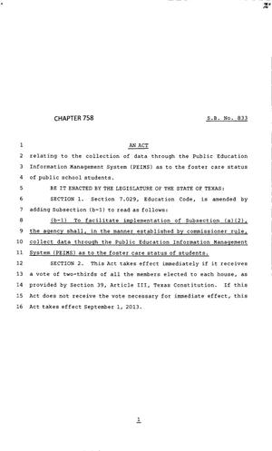 Primary view of object titled '83rd Texas Legislature, Regular Session, Senate Bill 833, Chapter 758'.