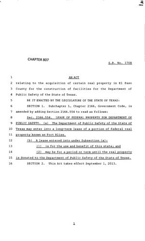 Primary view of object titled '83rd Texas Legislature, Regular Session, Senate Bill 1708, Chapter 807'.