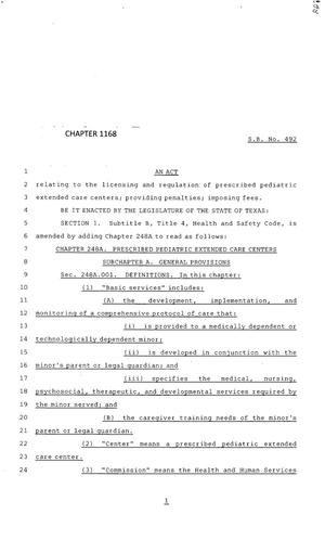 Primary view of object titled '83rd Texas Legislature, Regular Session, Senate Bill 492, Chapter 1168'.