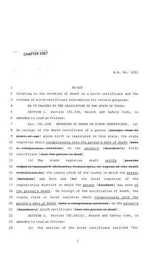 Primary view of object titled '83rd Texas Legislature, Regular Session, House Bill 3253, Chapter 1067'.