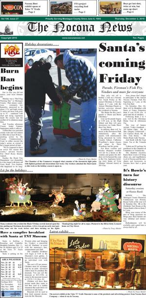 Primary view of object titled 'The Nocona News (Nocona, Tex.), Vol. 106, No. 27, Ed. 1 Thursday, December 2, 2010'.