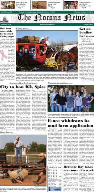 Primary view of object titled 'The Nocona News (Nocona, Tex.), Vol. 106, No. 20, Ed. 1 Thursday, October 14, 2010'.