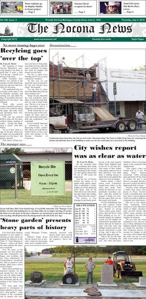 Primary view of object titled 'The Nocona News (Nocona, Tex.), Vol. 108, No. 5, Ed. 1 Thursday, July 5, 2012'.