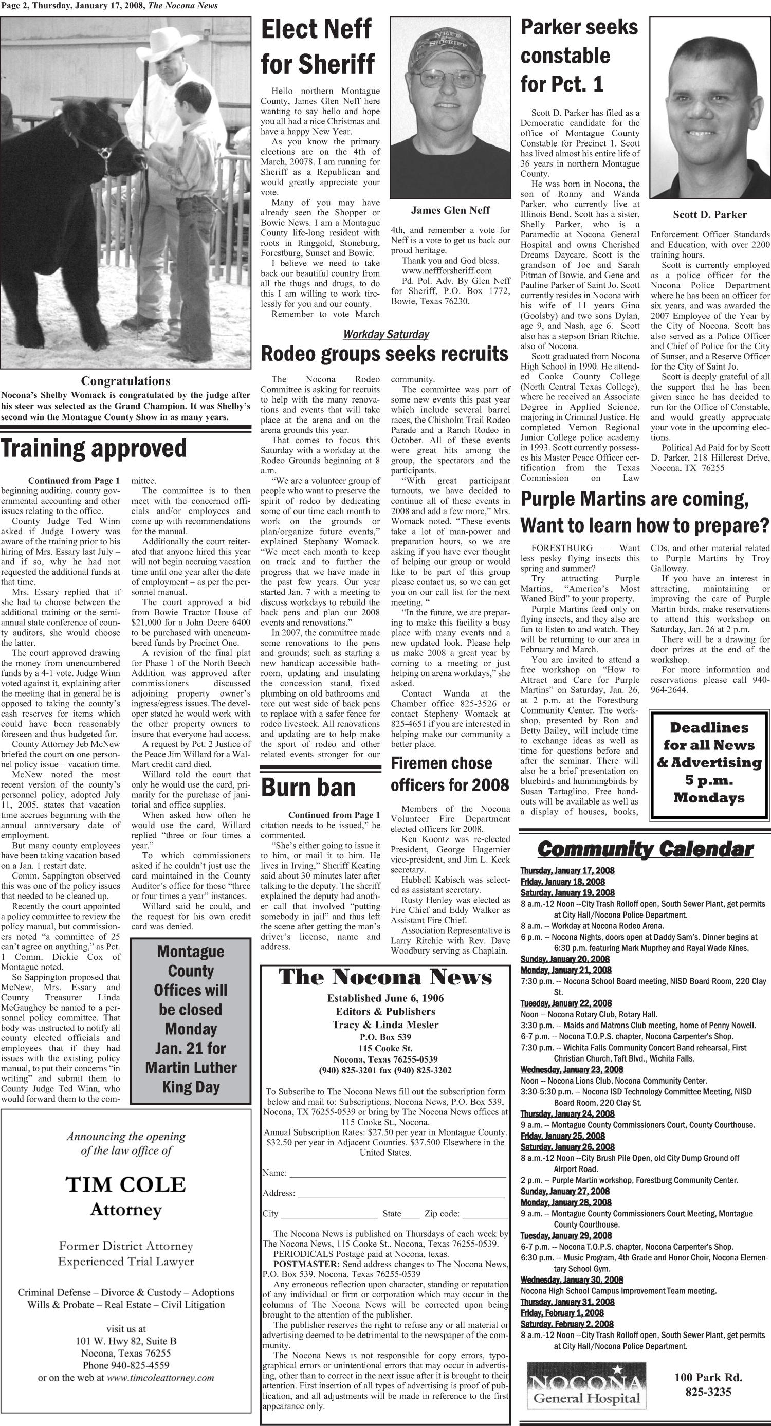 The Nocona News (Nocona, Tex.), Vol. 102, No. 32, Ed. 1 Thursday, January 17, 2008                                                                                                      [Sequence #]: 2 of 14