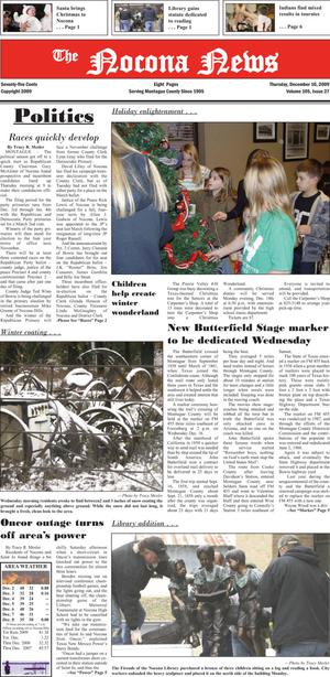 Primary view of object titled 'The Nocona News (Nocona, Tex.), Vol. 105, No. 27, Ed. 1 Thursday, December 10, 2009'.