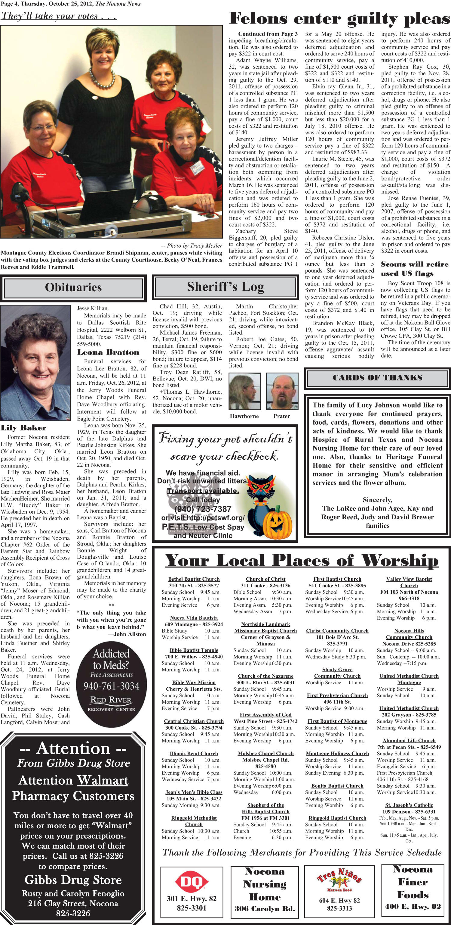 The Nocona News (Nocona, Tex.), Vol. 108, No. 18, Ed. 1 Thursday, October 25, 2012                                                                                                      [Sequence #]: 4 of 10