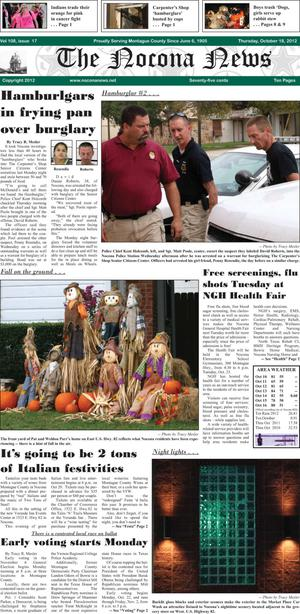 Primary view of object titled 'The Nocona News (Nocona, Tex.), Vol. 108, No. 17, Ed. 1 Thursday, October 18, 2012'.
