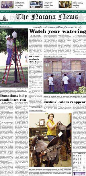 Primary view of object titled 'The Nocona News (Nocona, Tex.), Vol. 107, No. 48, Ed. 1 Thursday, May 3, 2012'.