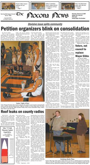 Primary view of object titled 'The Nocona News (Nocona, Tex.), Vol. 101, No. 36, Ed. 1 Thursday, February 15, 2007'.