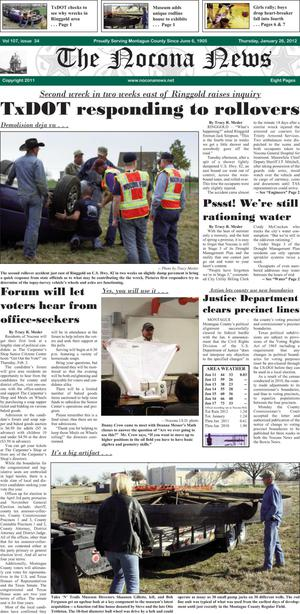 Primary view of object titled 'The Nocona News (Nocona, Tex.), Vol. 107, No. 34, Ed. 1 Thursday, January 26, 2012'.