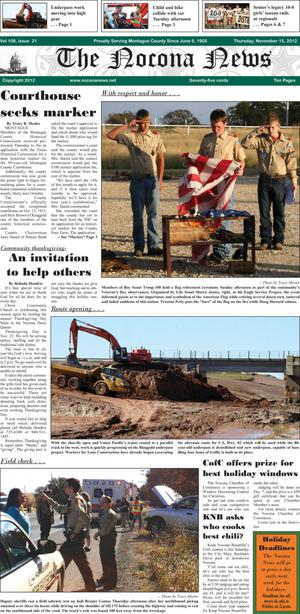 Primary view of object titled 'The Nocona News (Nocona, Tex.), Vol. 108, No. 21, Ed. 1 Thursday, November 15, 2012'.
