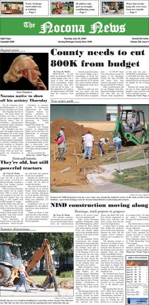 Primary view of object titled 'The Nocona News (Nocona, Tex.), Vol. 105, No. 4, Ed. 1 Thursday, June 25, 2009'.
