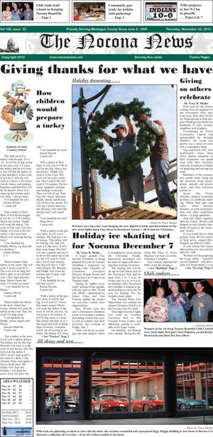 Primary view of object titled 'The Nocona News (Nocona, Tex.), Vol. 108, No. 22, Ed. 1 Thursday, November 22, 2012'.