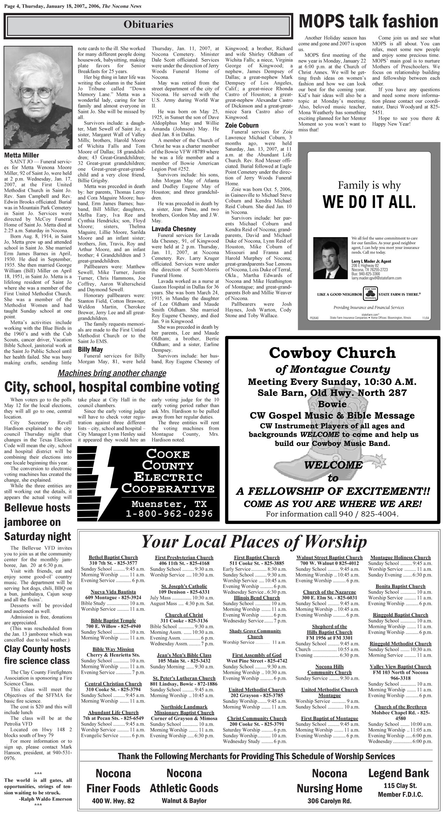The Nocona News (Nocona, Tex.), Vol. 101, No. 32, Ed. 1 Thursday, January 18, 2007                                                                                                      [Sequence #]: 4 of 8