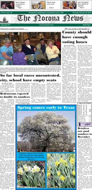Primary view of object titled 'The Nocona News (Nocona, Tex.), Vol. 107, No. 38, Ed. 1 Thursday, February 23, 2012'.