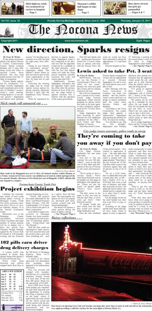 Primary view of object titled 'The Nocona News (Nocona, Tex.), Vol. 107, No. 32, Ed. 1 Thursday, January 12, 2012'.
