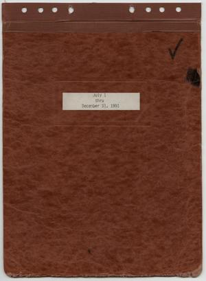 Primary view of object titled '[News Story Log: July 1 to December 31, 1991]'.