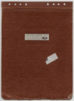 Primary view of object titled '[News Story Log: January 1 to June 30, 1984]'.