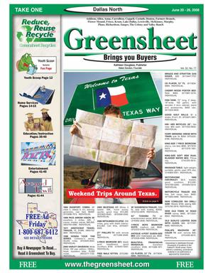 Primary view of object titled 'Greensheet (Dallas, Tex.), Vol. 32, No. 77, Ed. 1 Friday, June 20, 2008'.