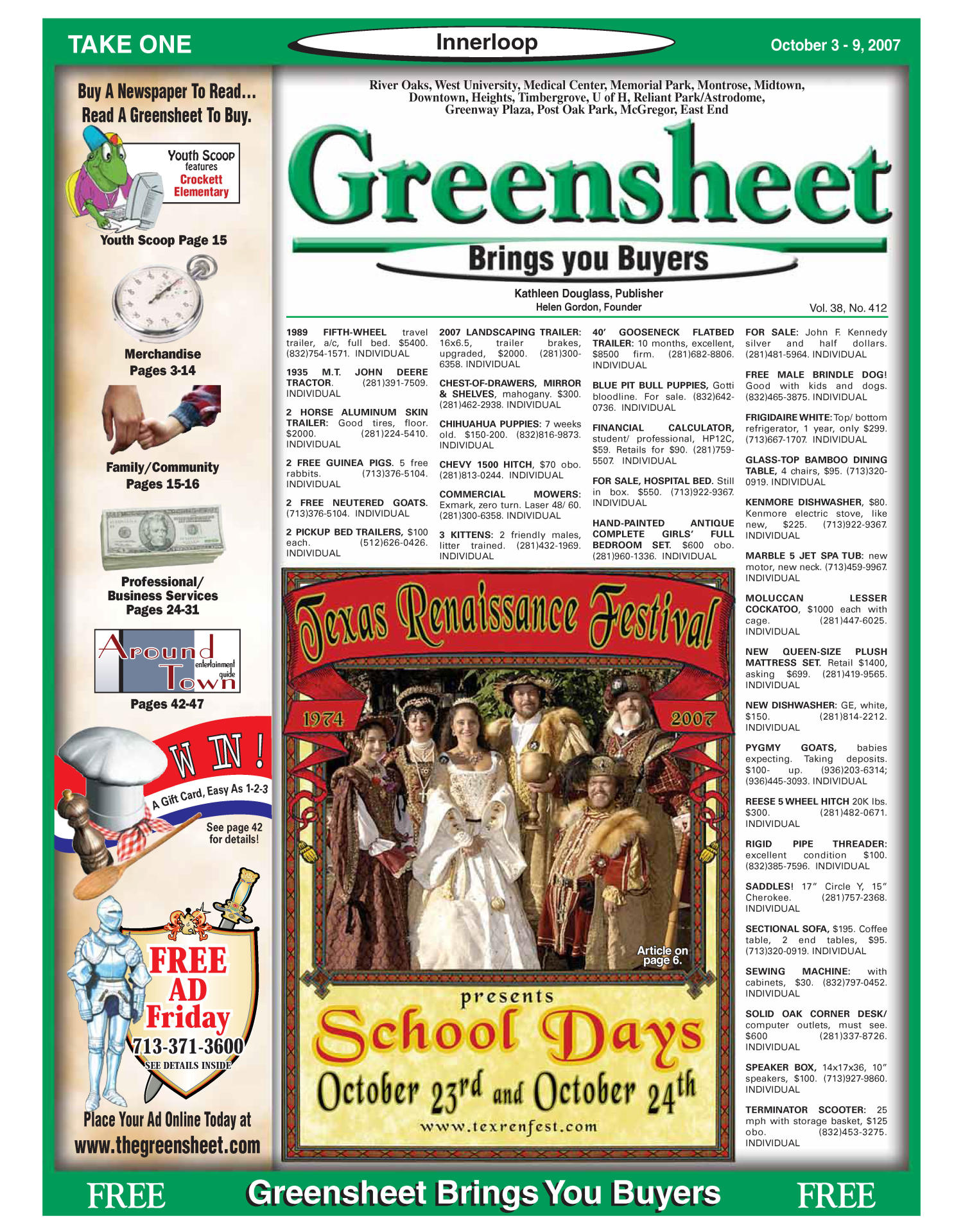 Greensheet (Houston, Tex.), Vol. 38, No. 412, Ed. 1 Wednesday, October 3, 2007                                                                                                      [Sequence #]: 1 of 56