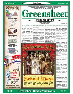 Primary view of object titled 'Greensheet (Houston, Tex.), Vol. 38, No. 412, Ed. 1 Wednesday, October 3, 2007'.