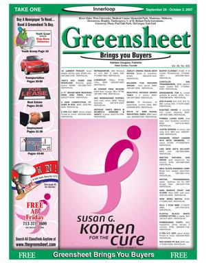 Primary view of object titled 'Greensheet (Houston, Tex.), Vol. 38, No. 400, Ed. 1 Wednesday, September 26, 2007'.