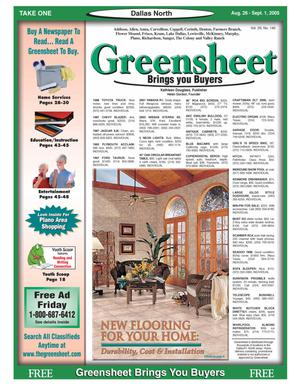 Primary view of object titled 'Greensheet (Dallas, Tex.), Vol. 29, No. 140, Ed. 1 Friday, August 26, 2005'.