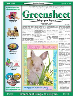 Primary view of object titled 'Greensheet (Dallas, Tex.), Vol. 30, No. 7, Ed. 1 Friday, April 14, 2006'.